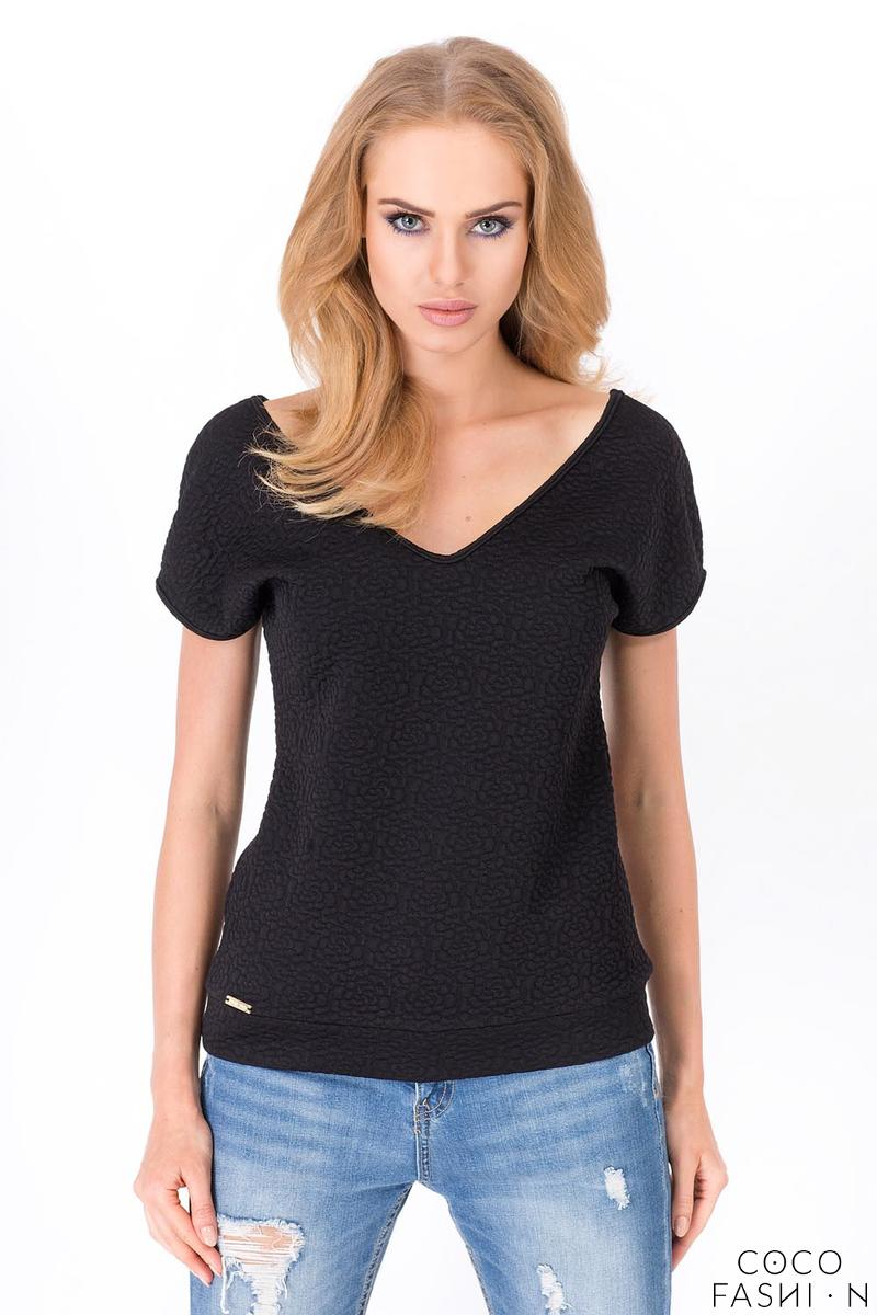 Black Classic V-Neck Patterned Fabric T-shirt
