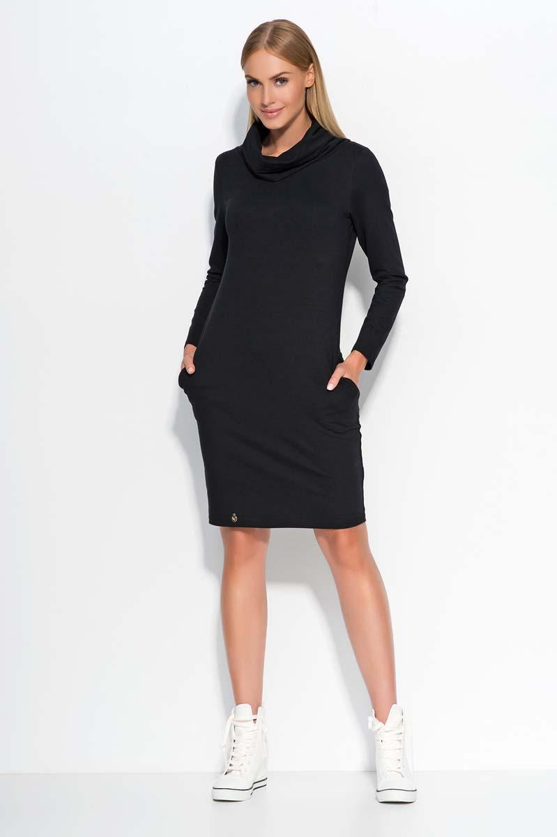 Black Casual Dress with Tourtleneck