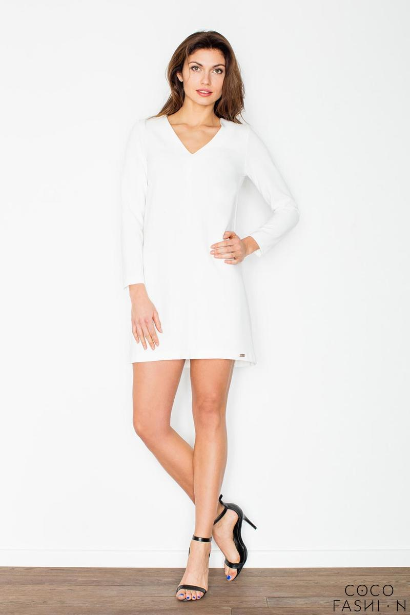 Ecru Mini V-Neckline Dress