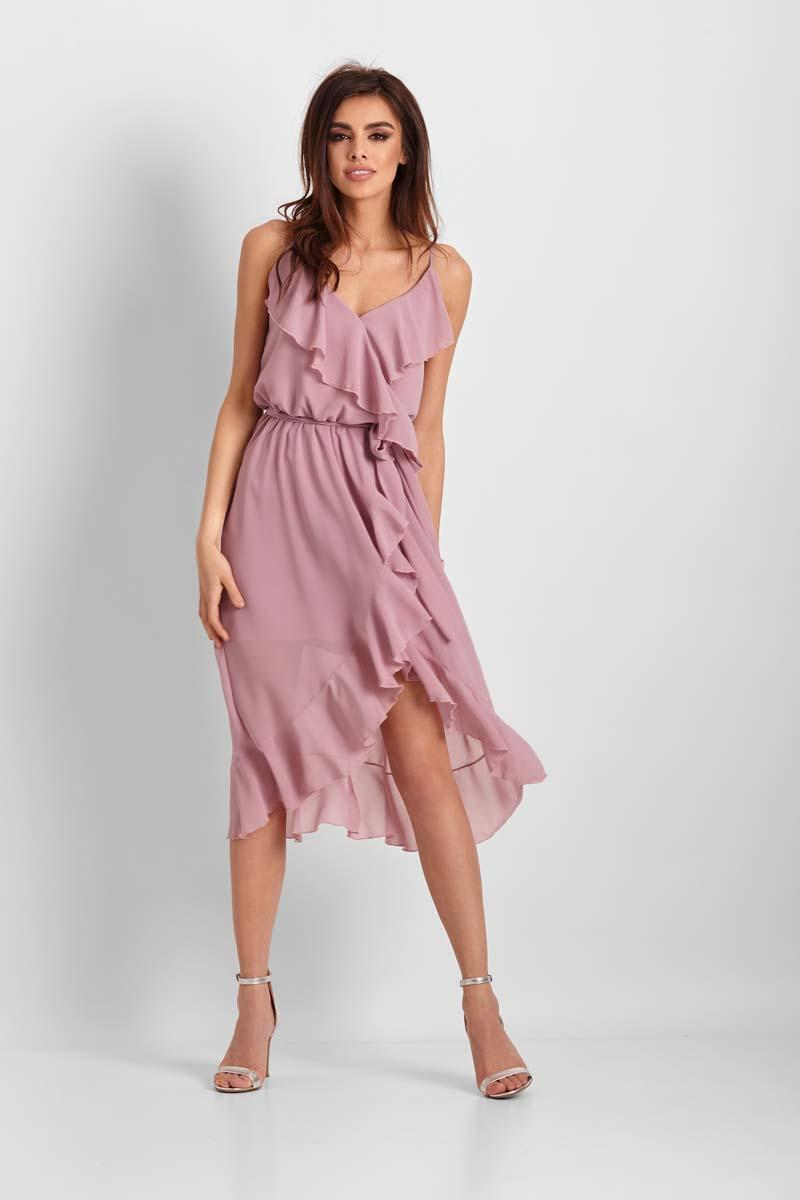 Pink Patterned Asymmetrical Dress With Frills