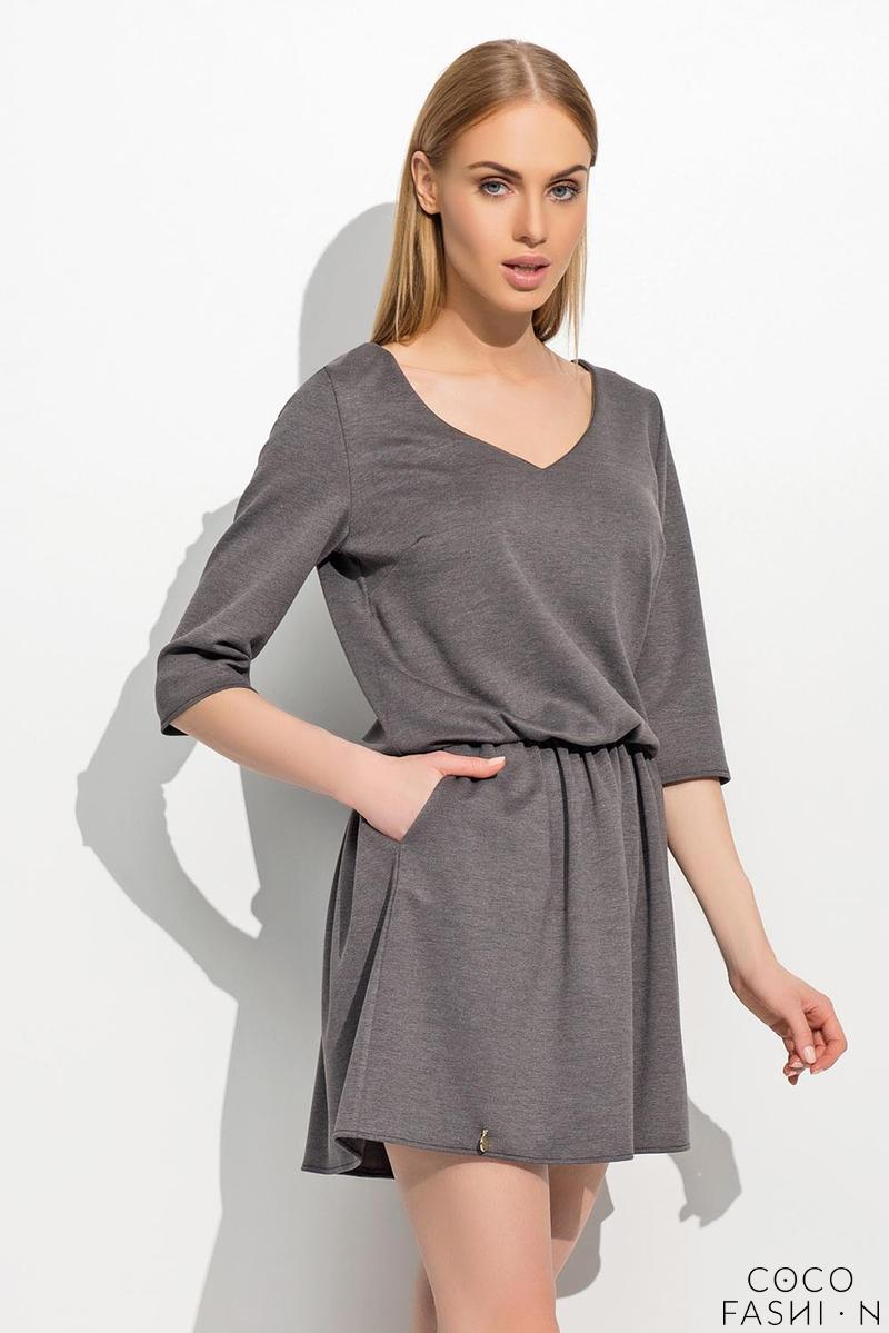 dark-grey-wrinkled-waist-mini-dress