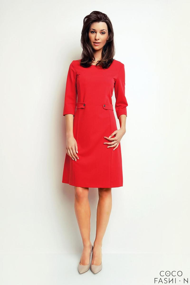 red-simple-office-style-34-sleeves-dress