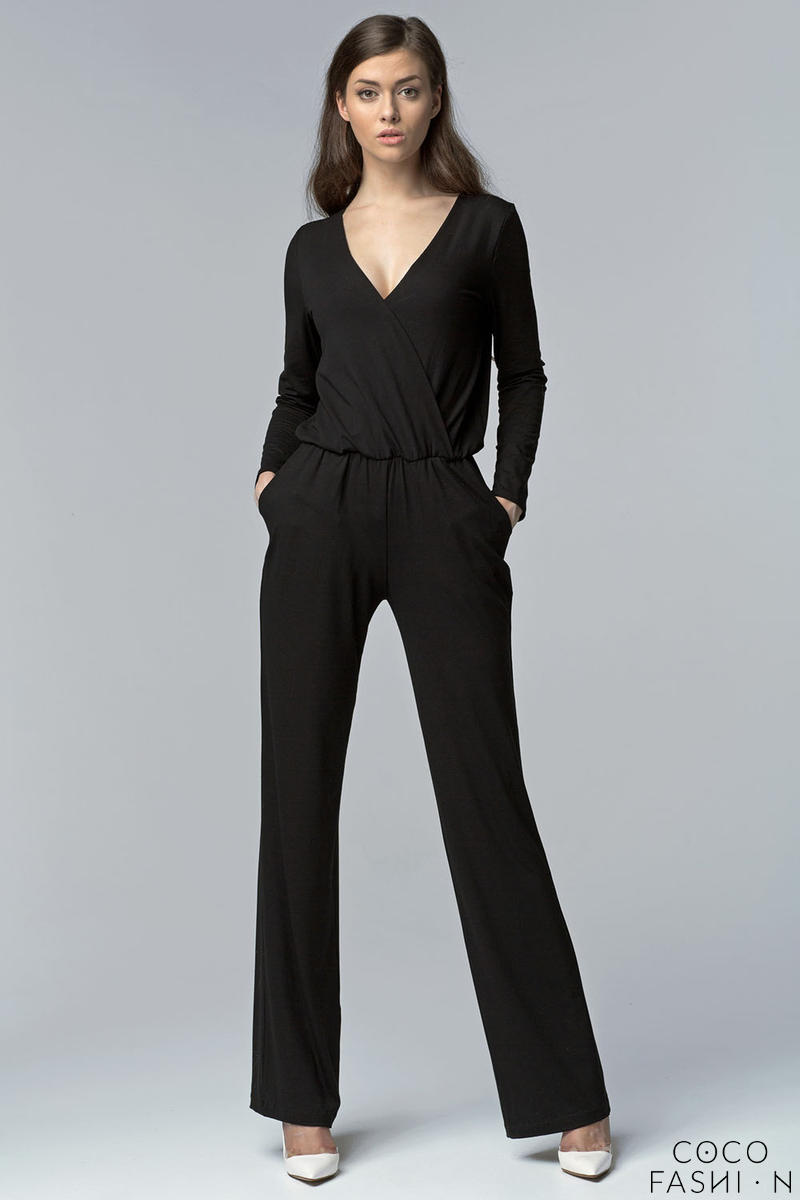 Black Cross Bodice Jumpsuit with Long Sleeves