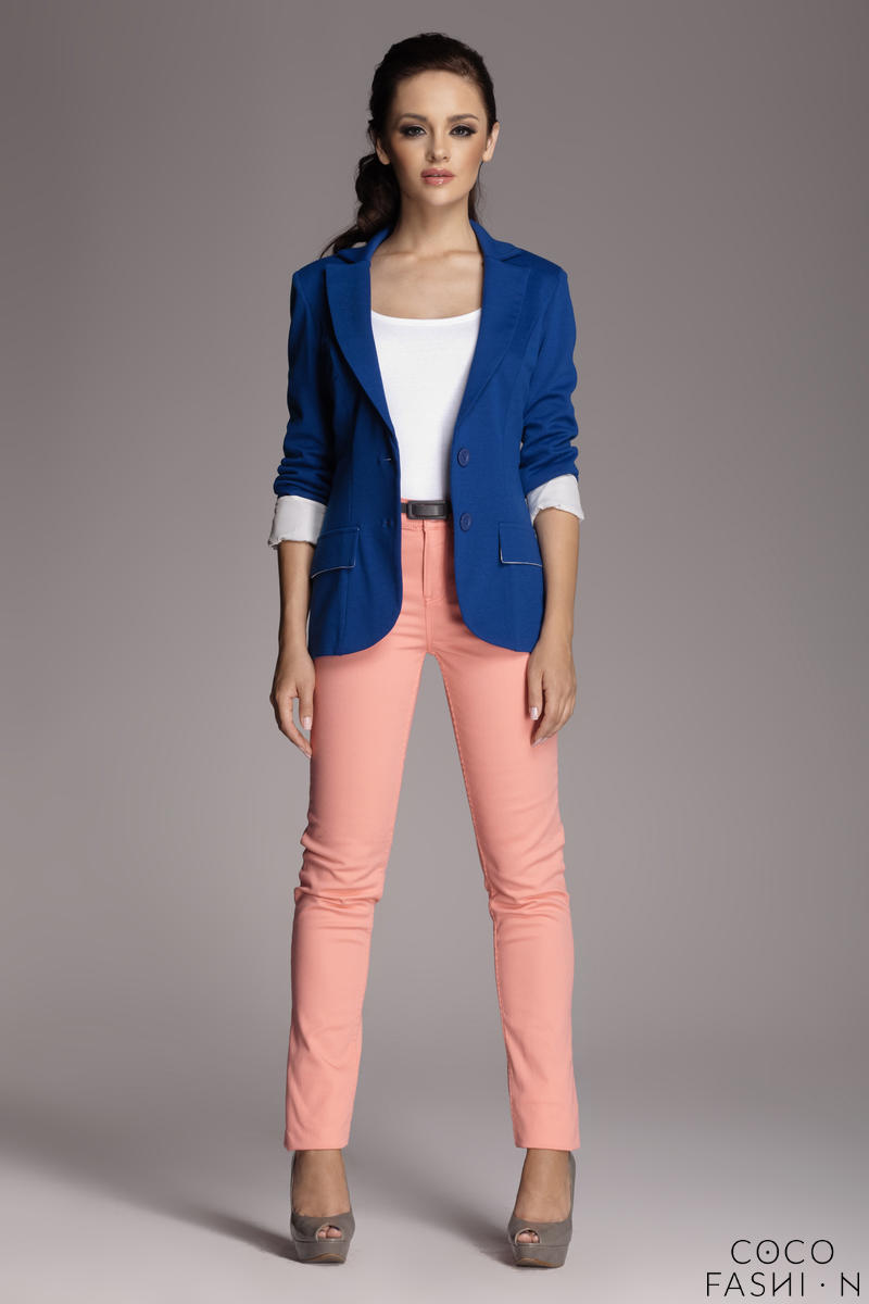 Contrast Sleeves Blue Blazer with Twin Side Flap Pockets