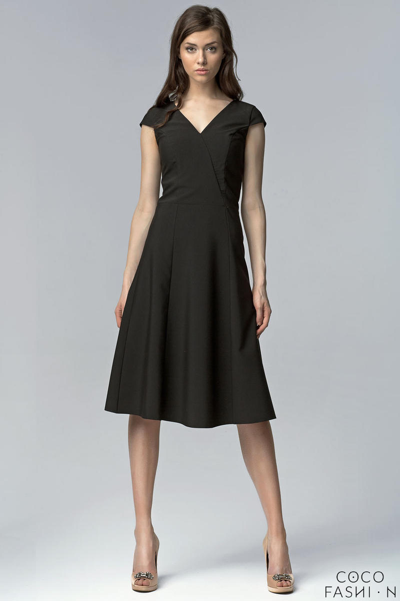 Black V Neck Cross Bodice Seam Dress with Cap Sleeves