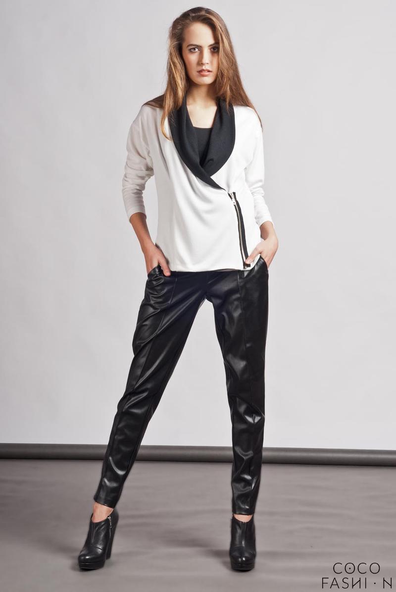 white-unique-big-collar-zipper-closure-cardigan