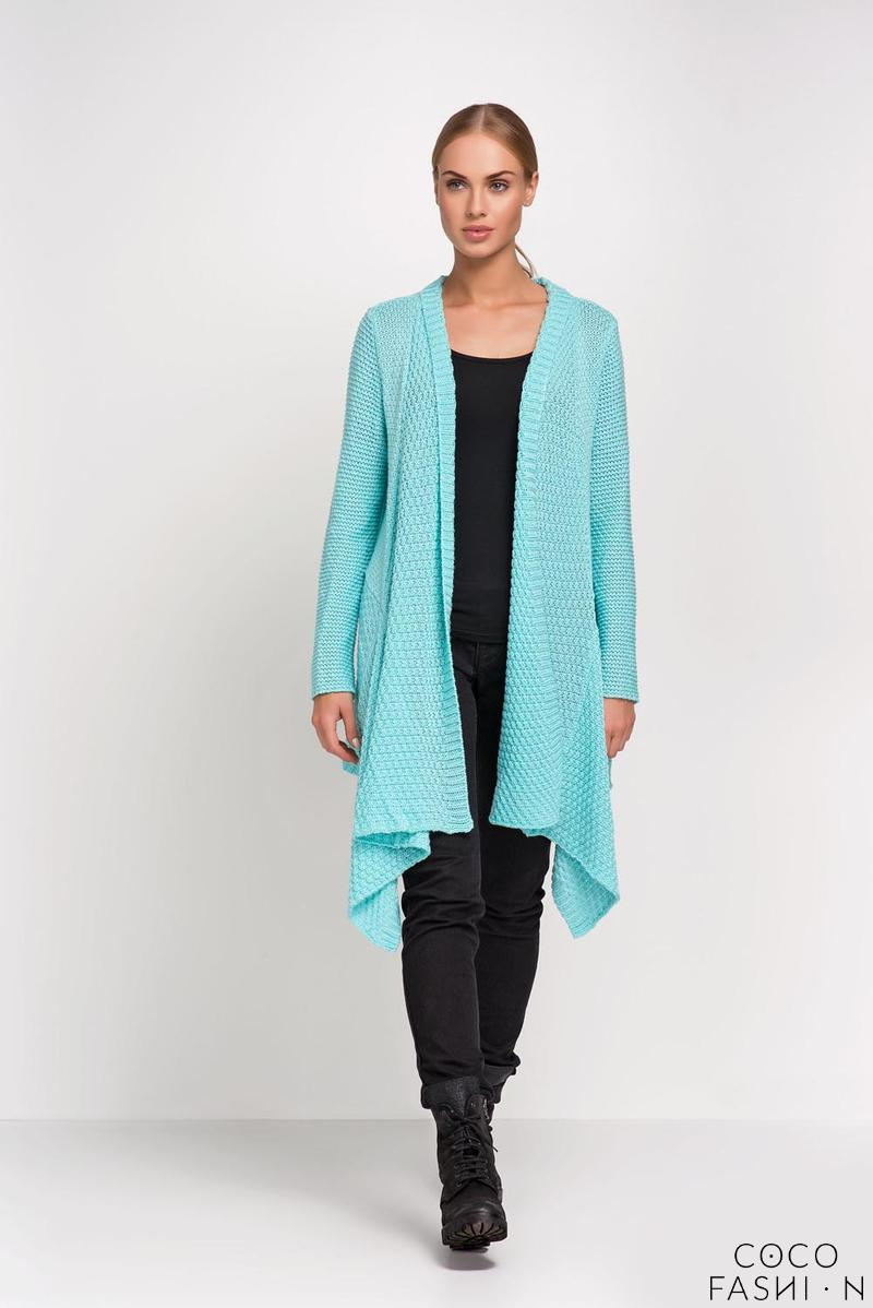 Mint Long Cardigan with Asymmetrical Lapels