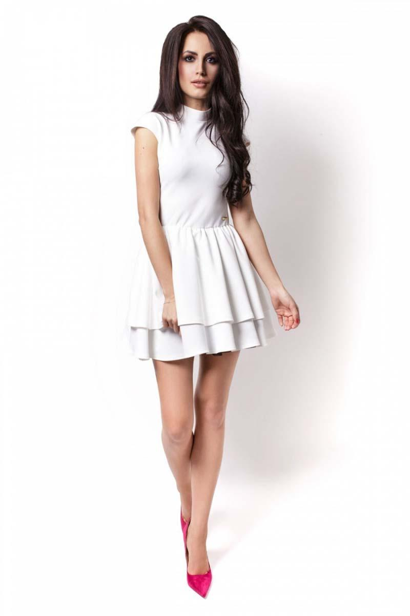 Ecru Mini Frilled Dress with Cut Out Back