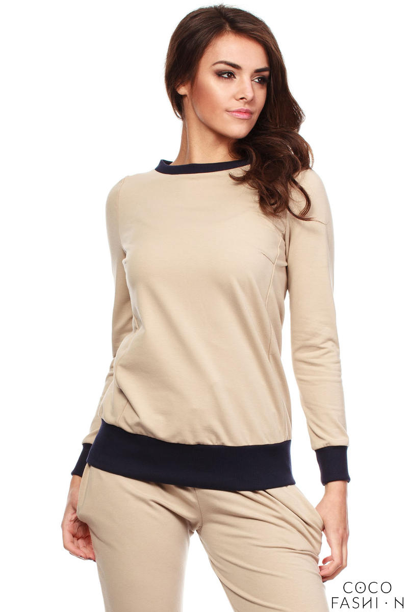 Beige Dynamic Sporty Sweatshirt Long-sleeve Blouse