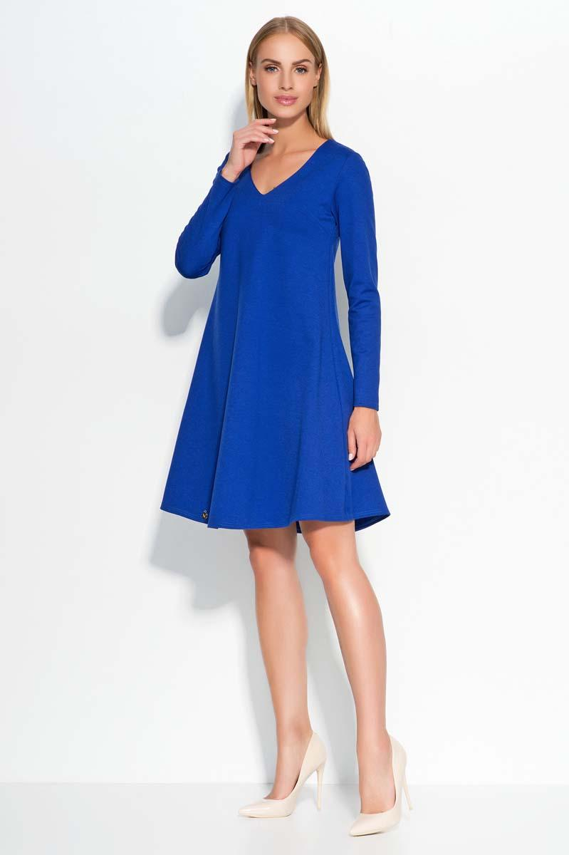 Blue V-Neckline Flared Casual Dress