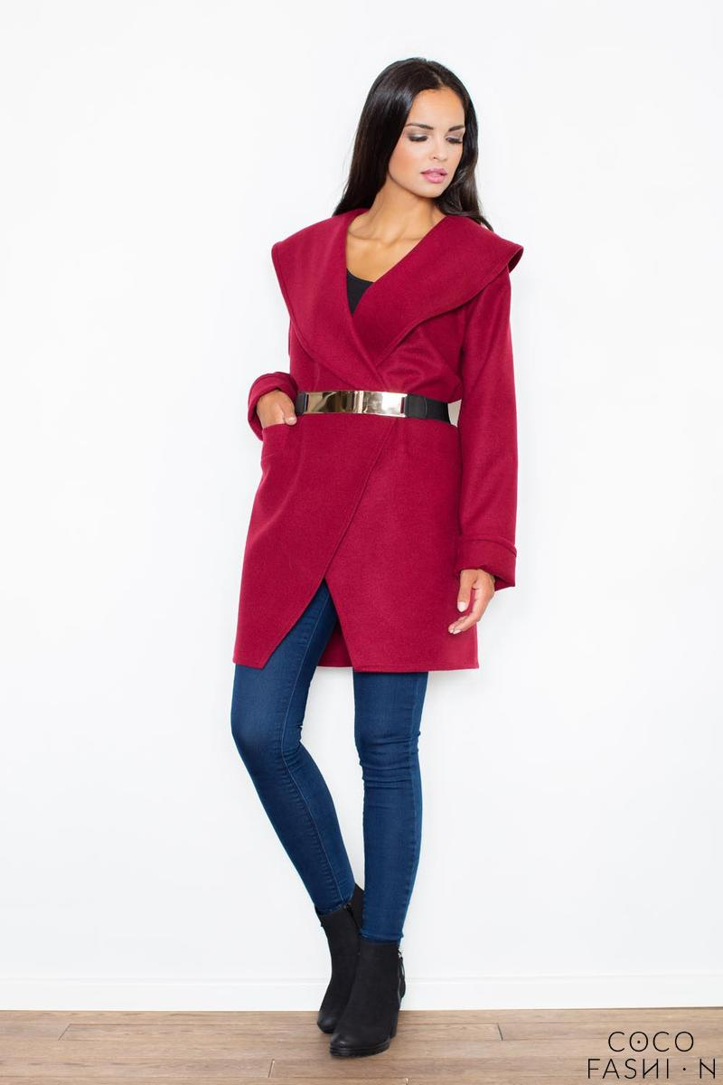 maroon-big-collar-short-coat-with-gold-belt