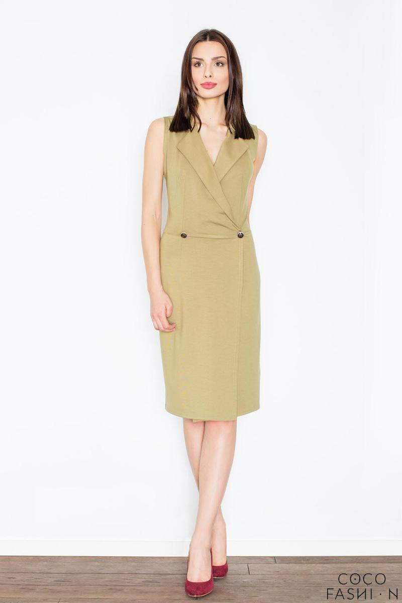Olive Green Knee Lenght Shirt Dress