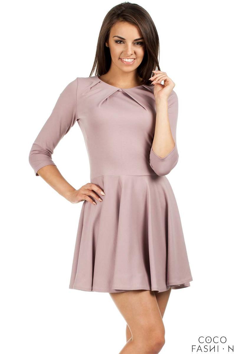 Heathery Pleated Neckline Flippy Dress от cocofashion