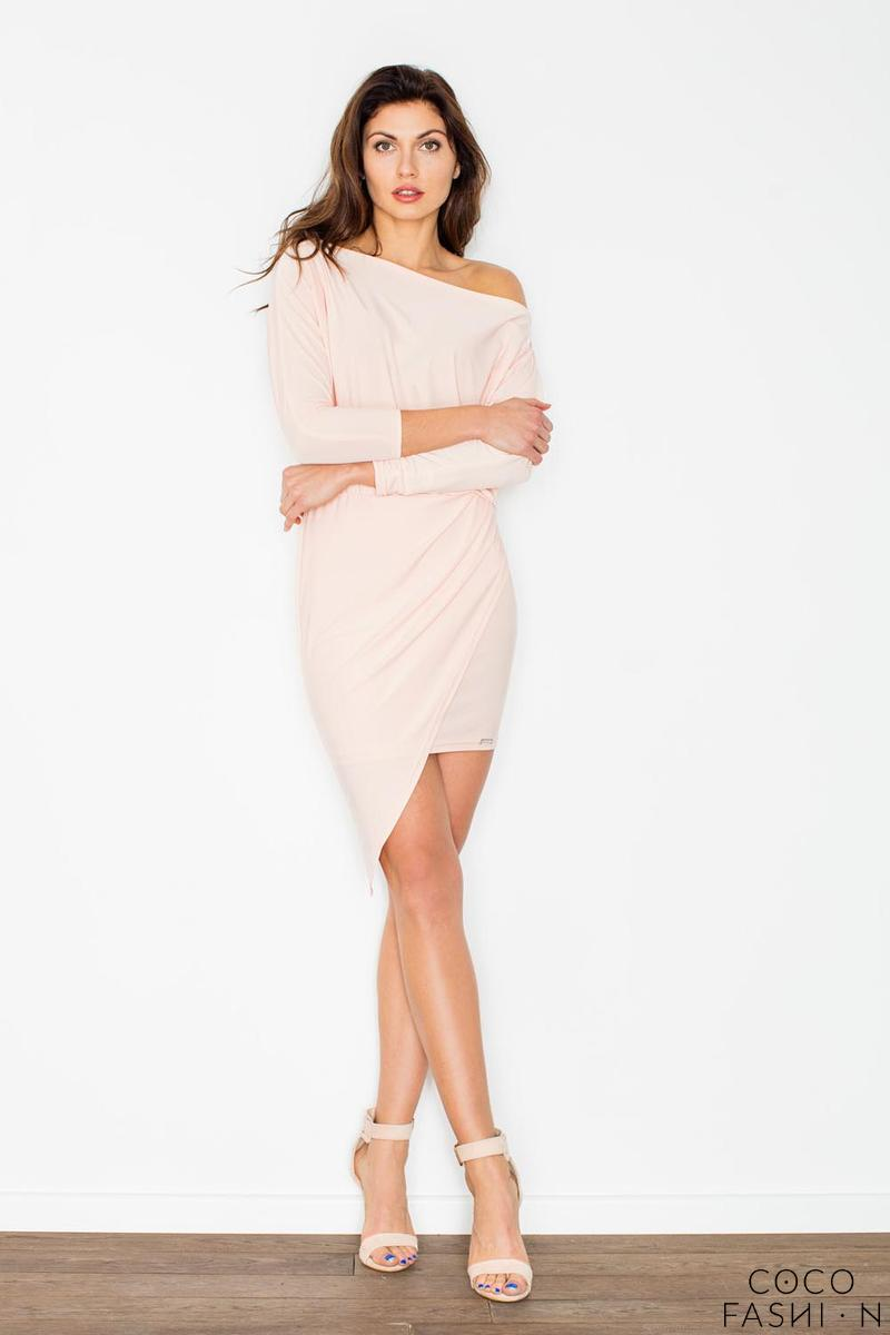 Light Pink Asymetrical Mini Boat Neckline Dress