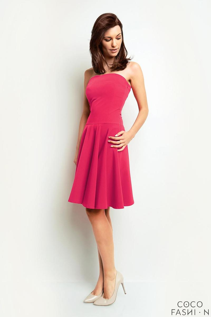 Pink Bandeau Coctail Knee Length Dress