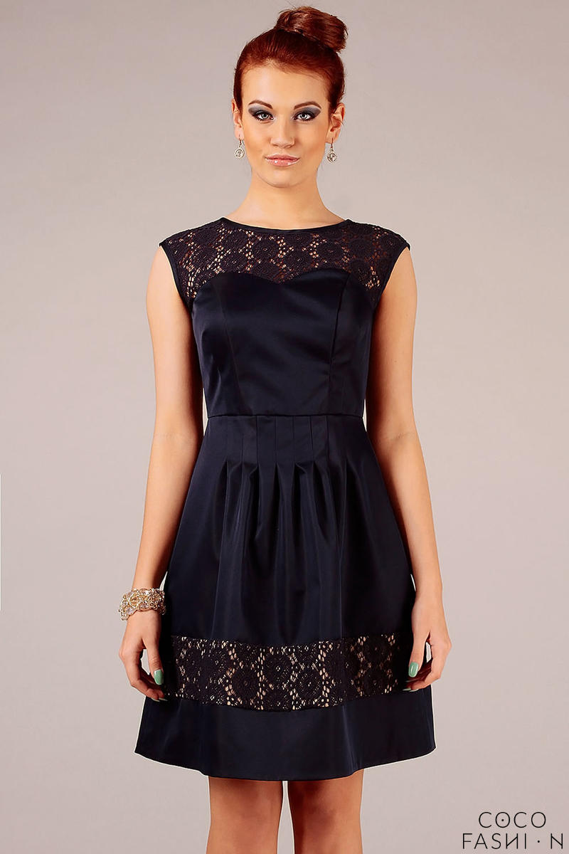 Dark Blue Sleeveless Coctail Dress with Lace Details