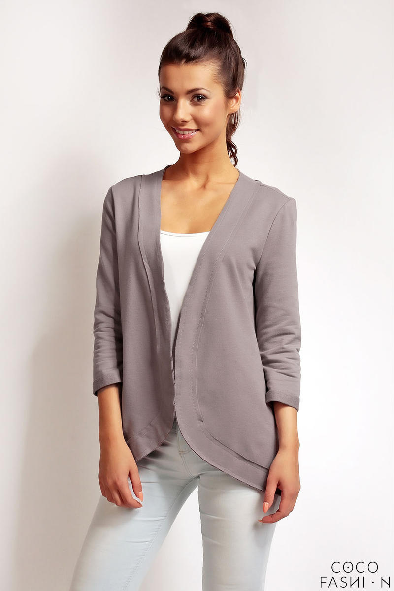 Dark Grey 3/4 Sleeves Light Ladies Cardigan
