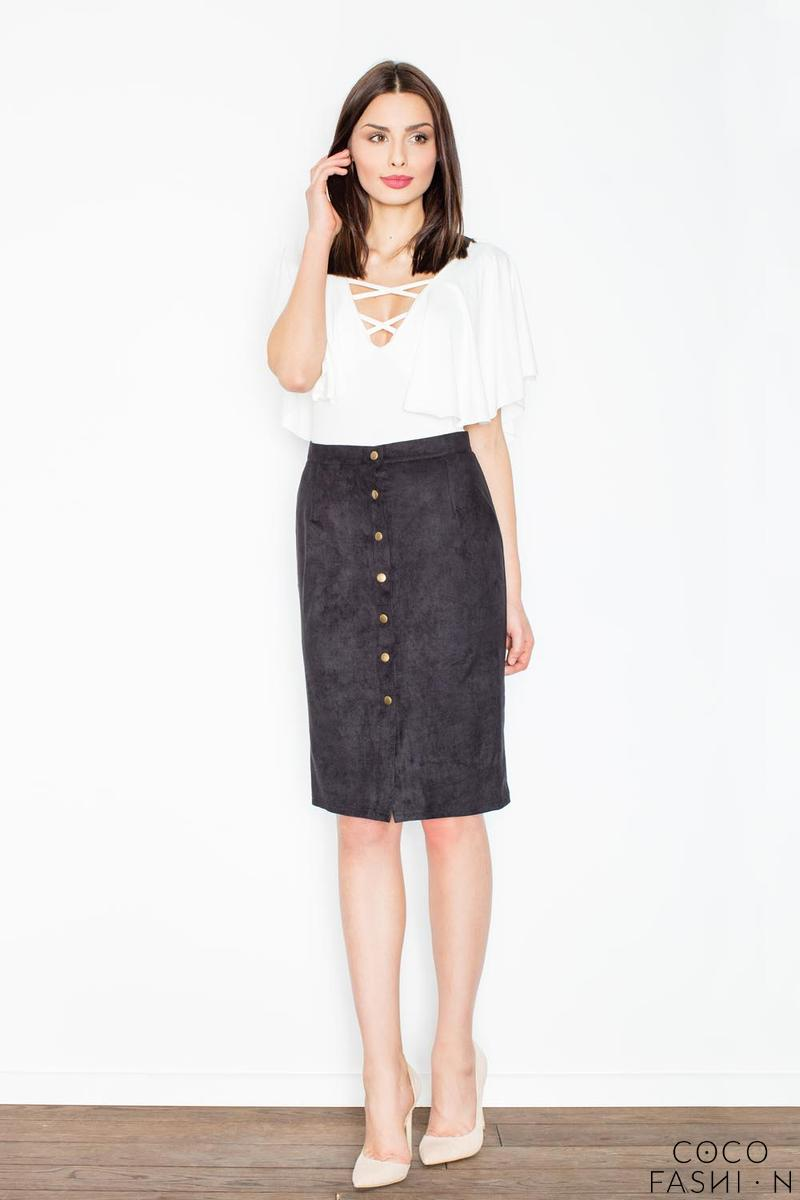 Black Snaps Closure Pencil Skirt