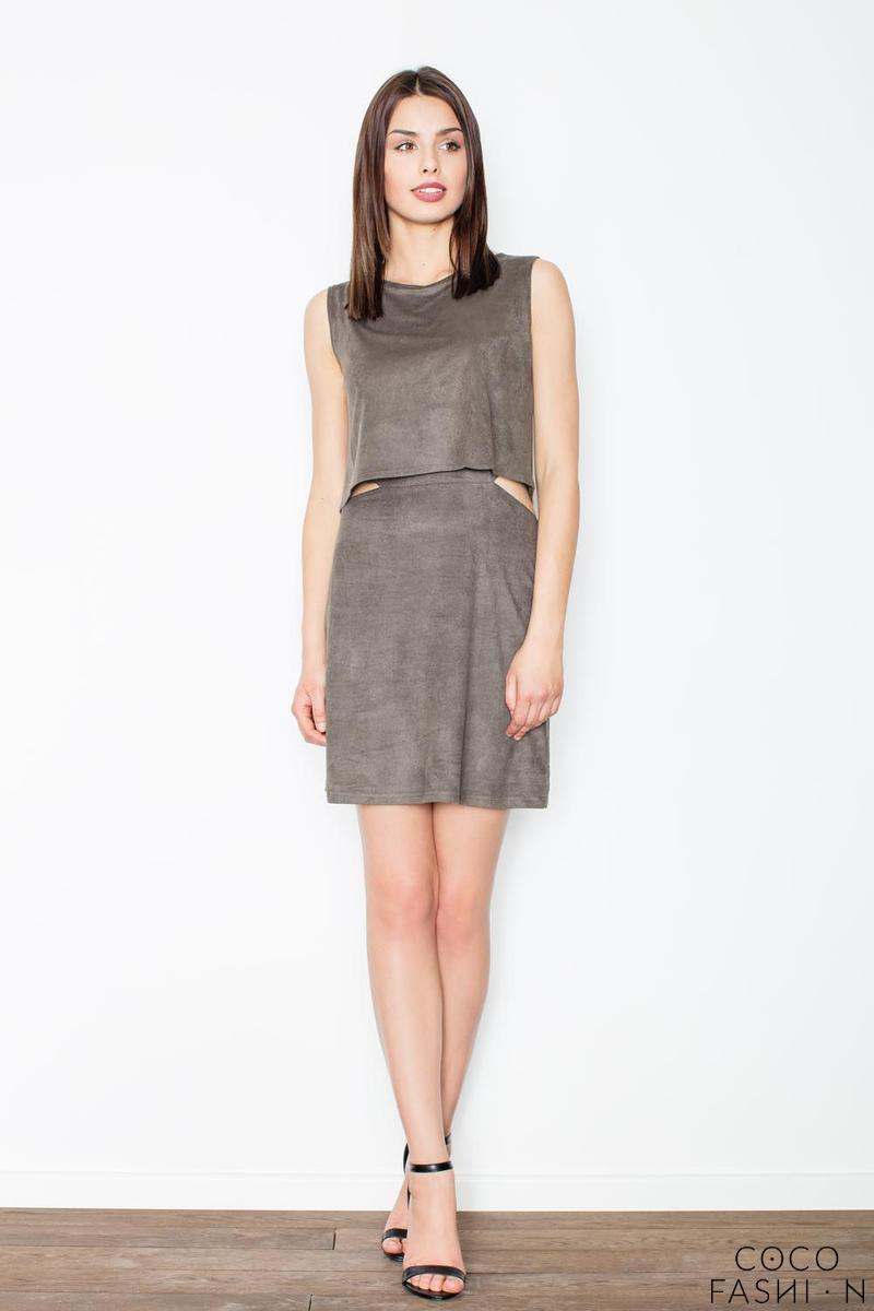 Dark Grey Unique Cut Out Waist Mini Dress
