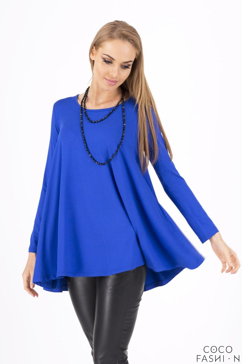 COrnflower Blue Long Sleeves Oversized Loose Blouse