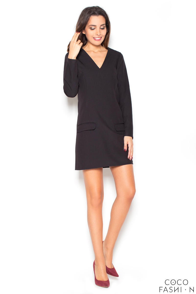 Black Flared 3/4 Sleeves V-Neckline Mini Dress