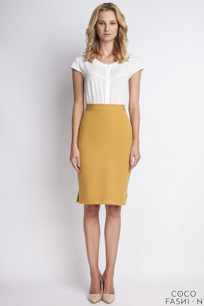 Mustard High Waist Knee Length Elegant Skirt