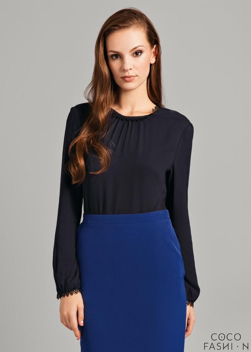 Dark Blue Wrinkled Neckline Long Sleeved Blouse
