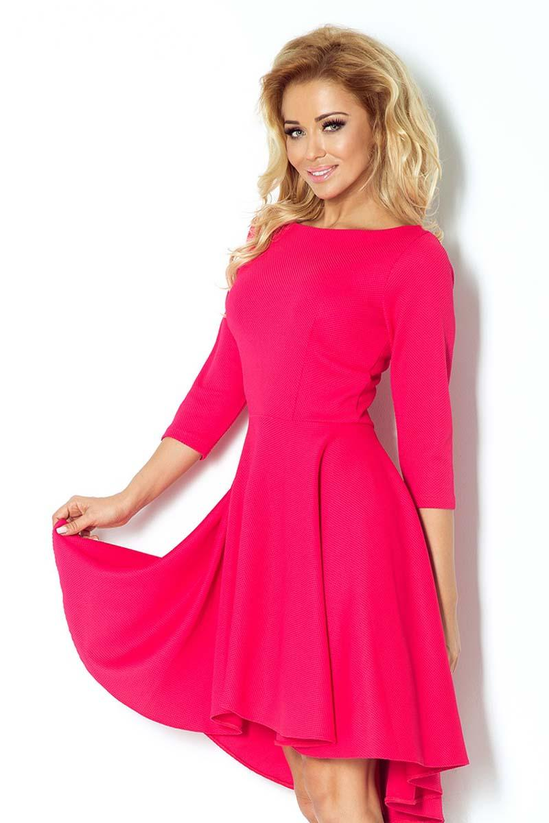 Raspberry Pink 3/4 Sleeves Asymetrical Coctail Dress