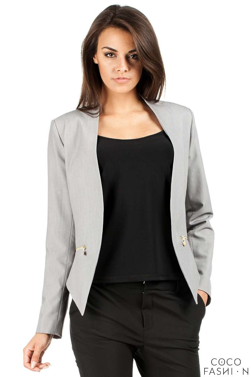 gray-unique-collar-women-blazer-jacket
