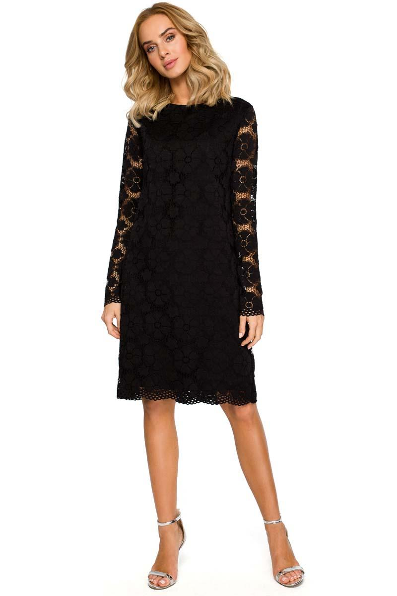 Black Formal Trapezoid Dress With Lace
