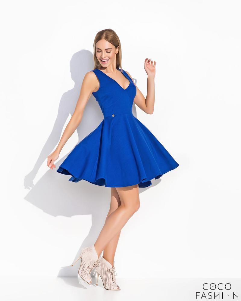 Blue Flared Light Pleats Sleeveless Dress