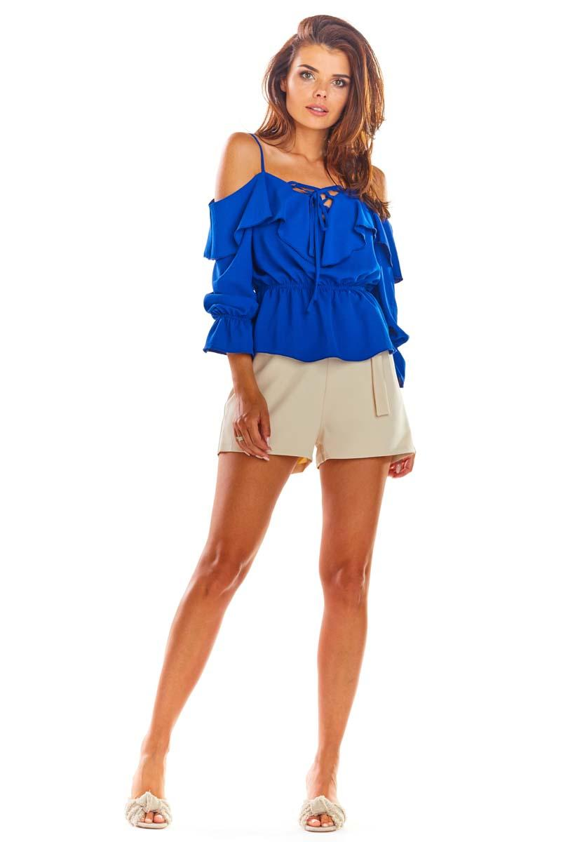 Blue Blouse with a Spanish 3/4 Sleeve Neckline