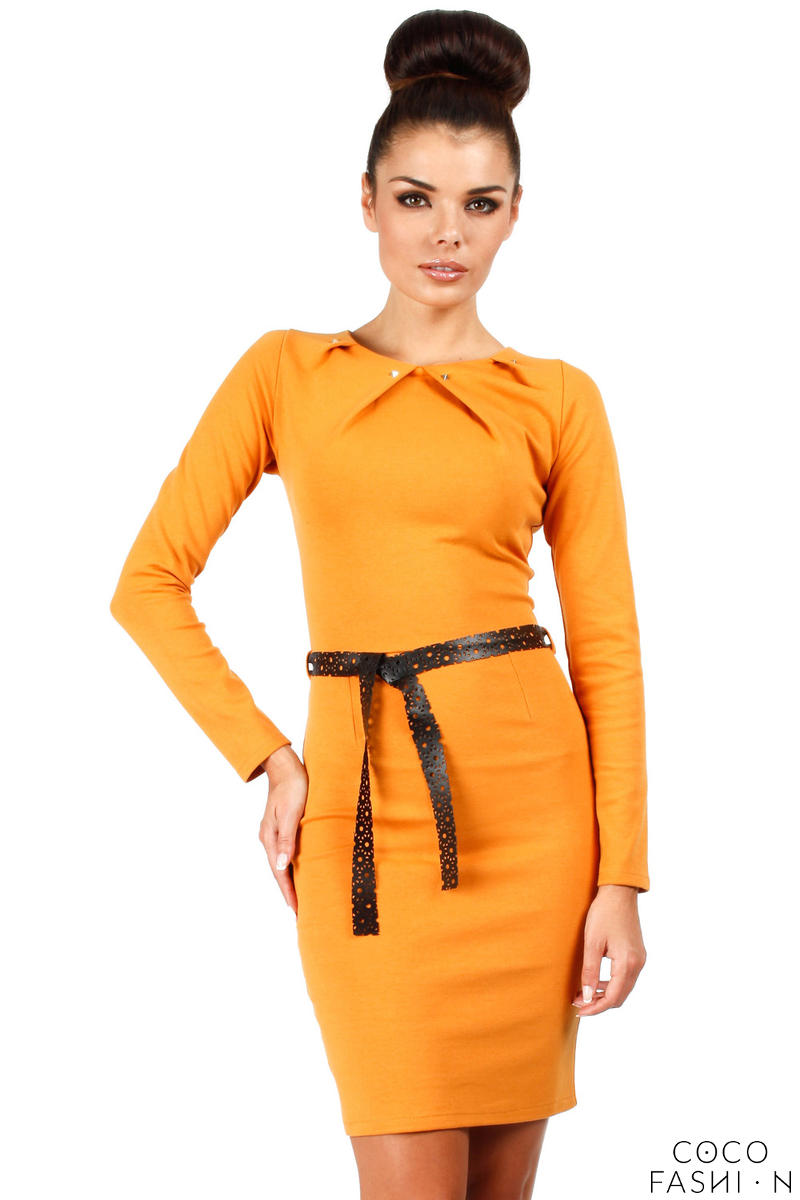 Honey Yellow Pleated Neckline Shift Dress with Belt