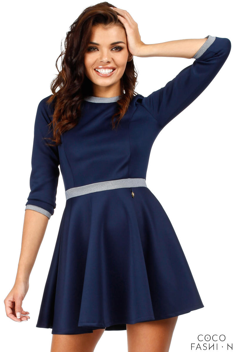 Navy Blue Retro Style A-line Mini Dress
