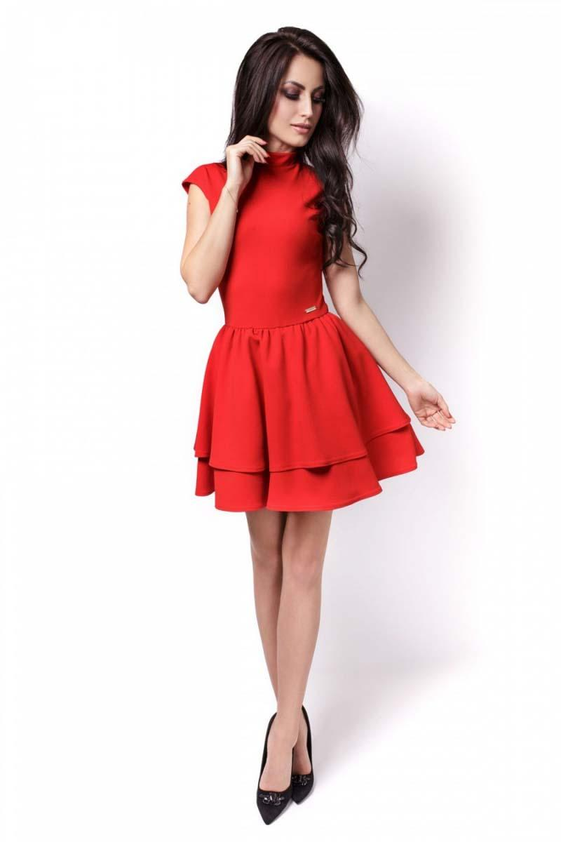Red Mini Frilled Dress with Cut Out Back