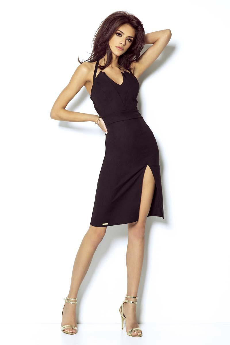 Black Coctail Dress with Self-tie Strap