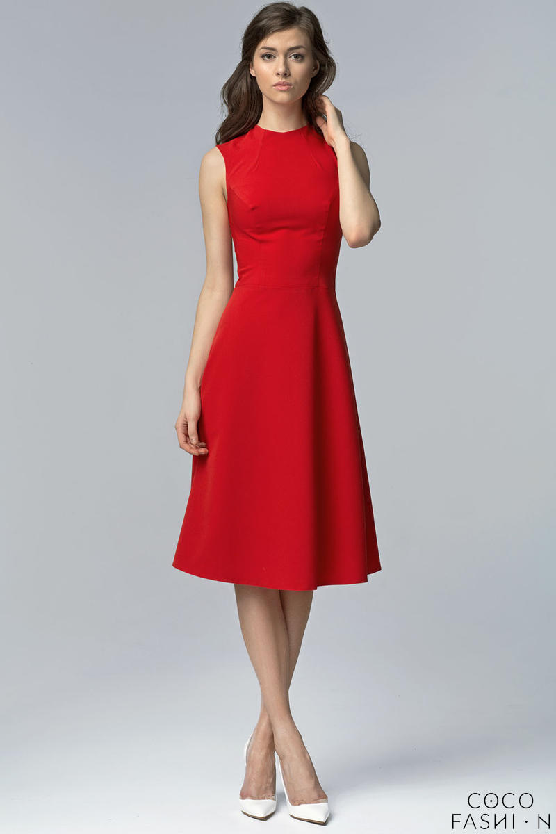 red-seam-midi-dress-with-high-neckline