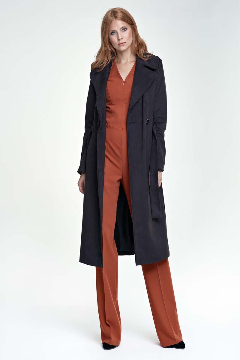 Black Classic Elegant Belted Coat