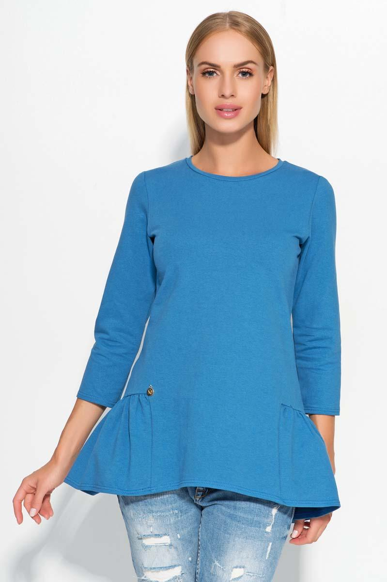 Blue Casual Comfy Peplum Blouse