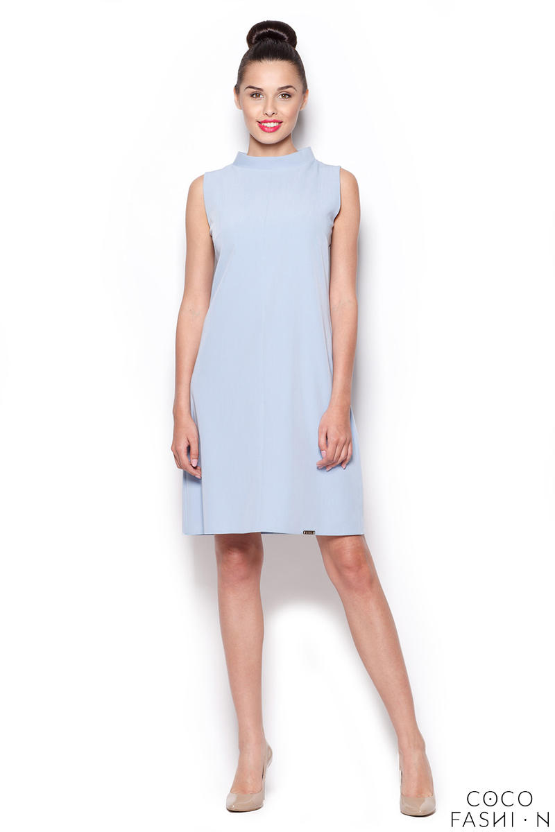 f8acb7f5f9f Pale Blue High Neck Sleeveless Shift Dress