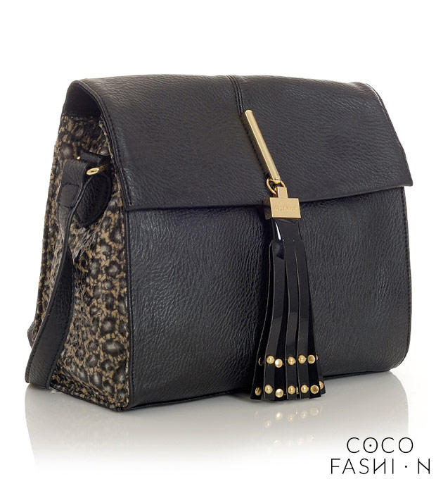 Black&Leopard Ladies Shoulderbag with Fringe