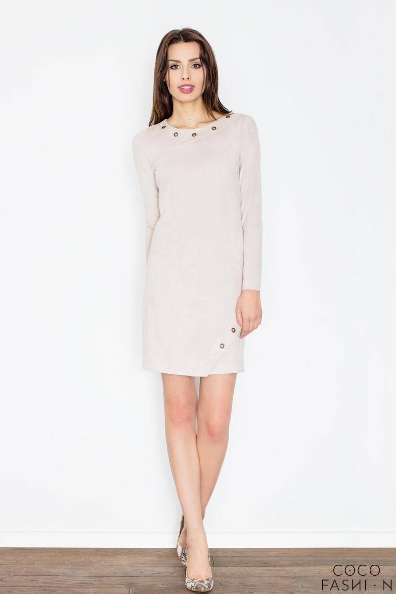 Beige Round Rivets Casual Dress