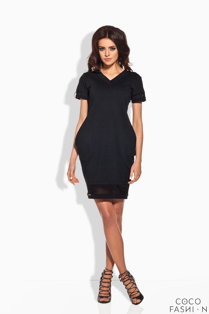 Black Casual Dress with Transparent Details