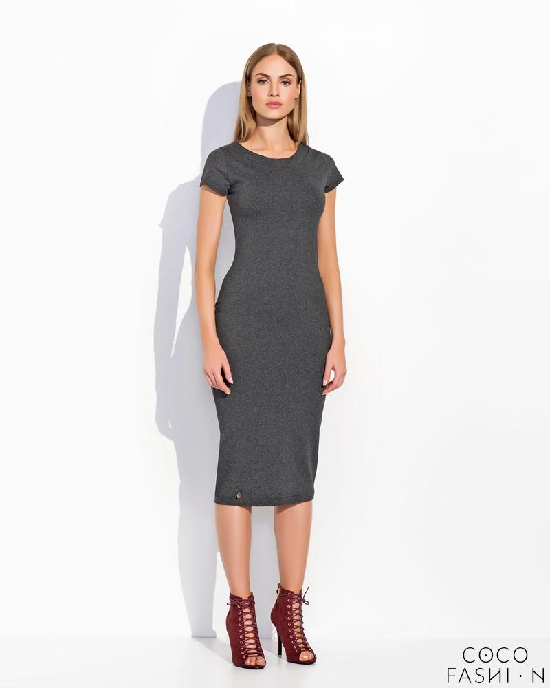 Dark Grey Plain&Simple Casual Midi Dress