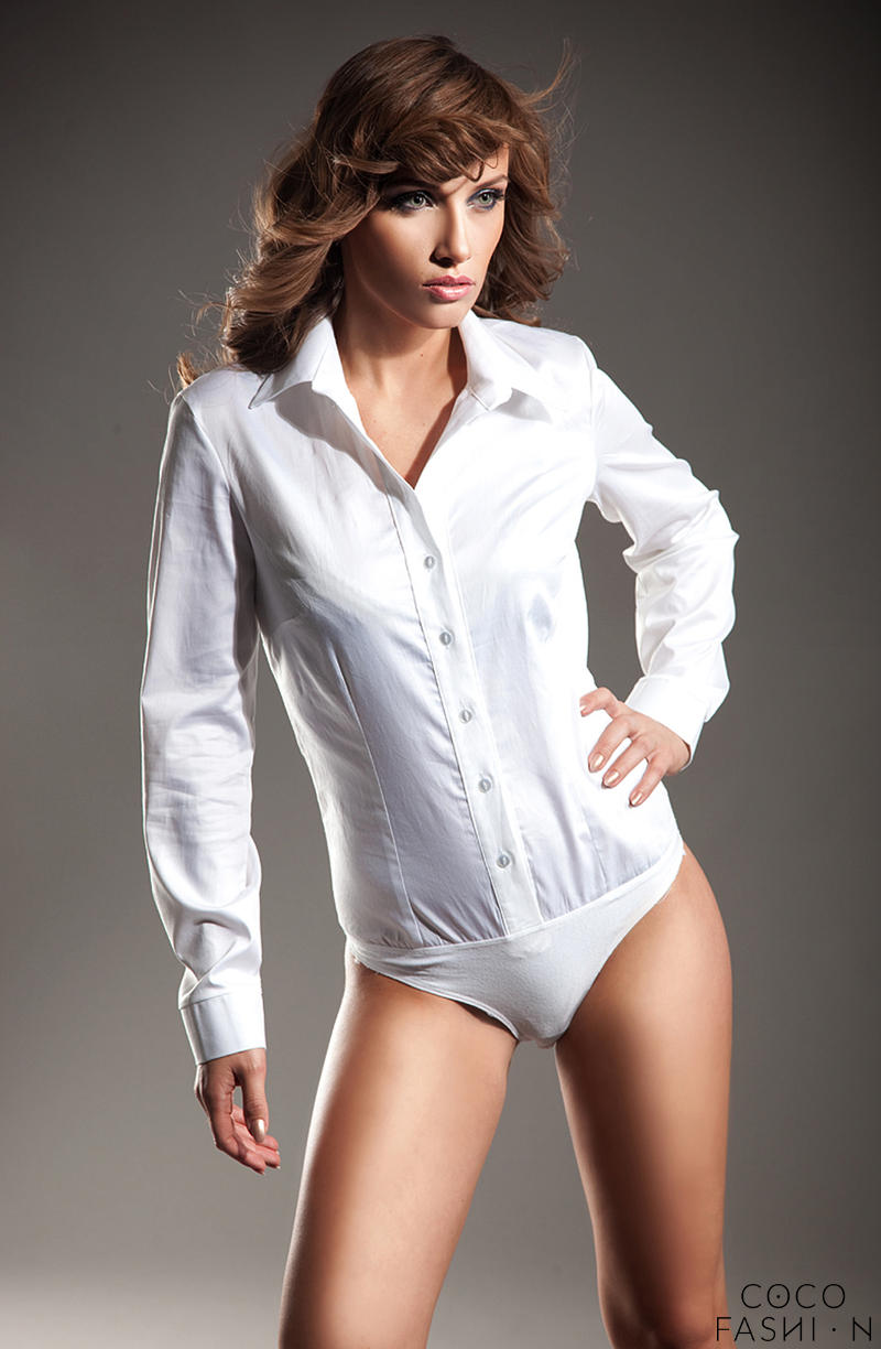 Collared White Shirt Bodysuit with Front Button Fastening