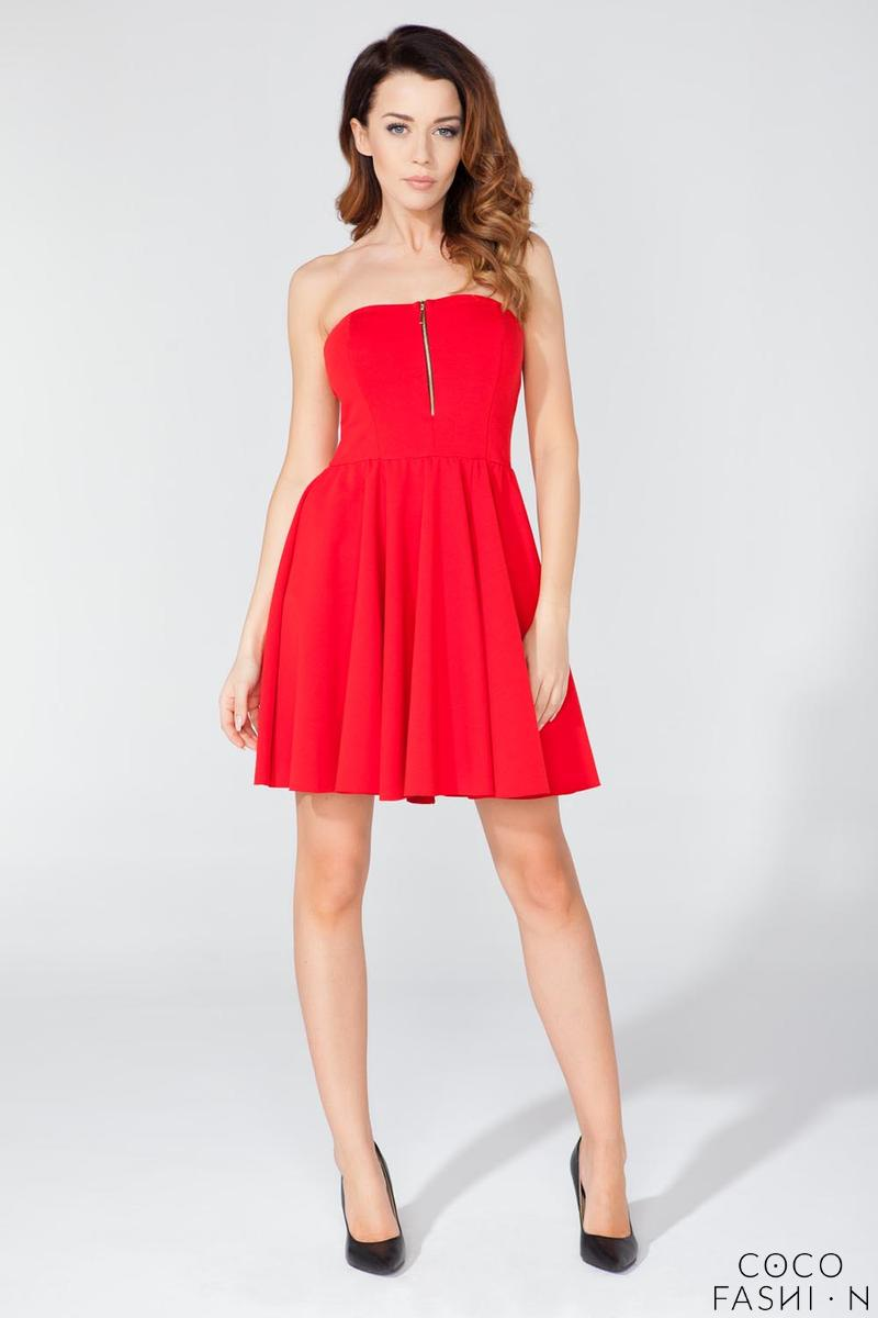 Red Off Shoulders Party Dress with a Zip