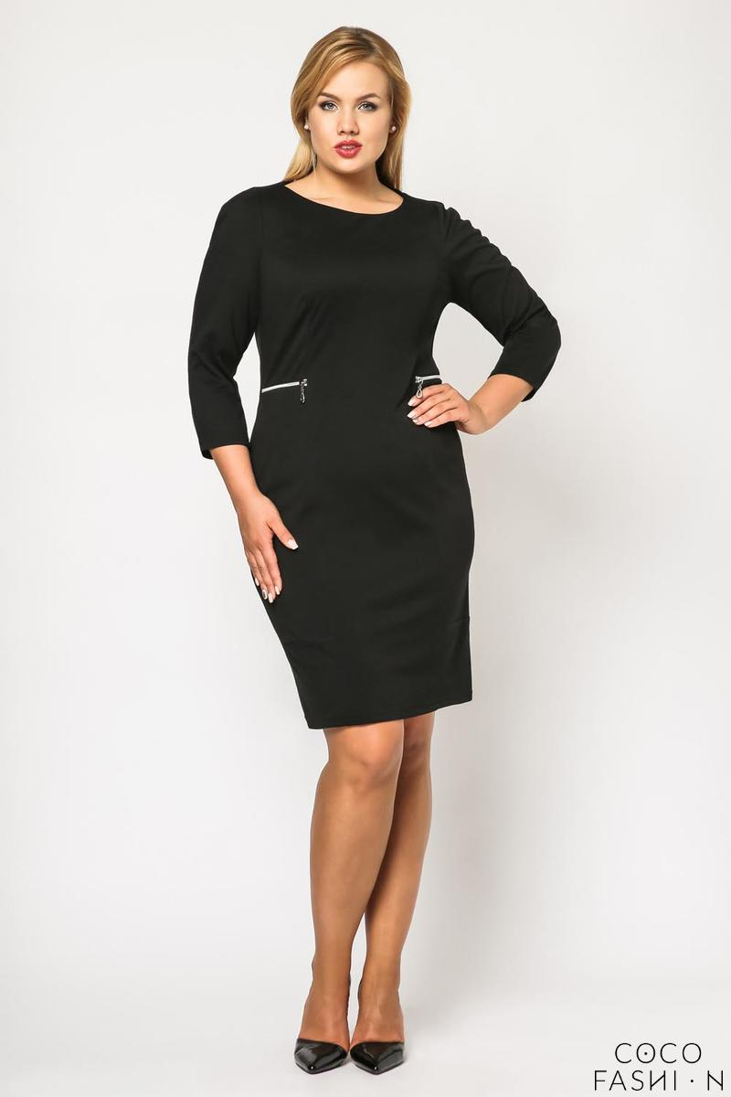 Black Classic 3/4 Sleeves Dress with Zips PLUS SIZE