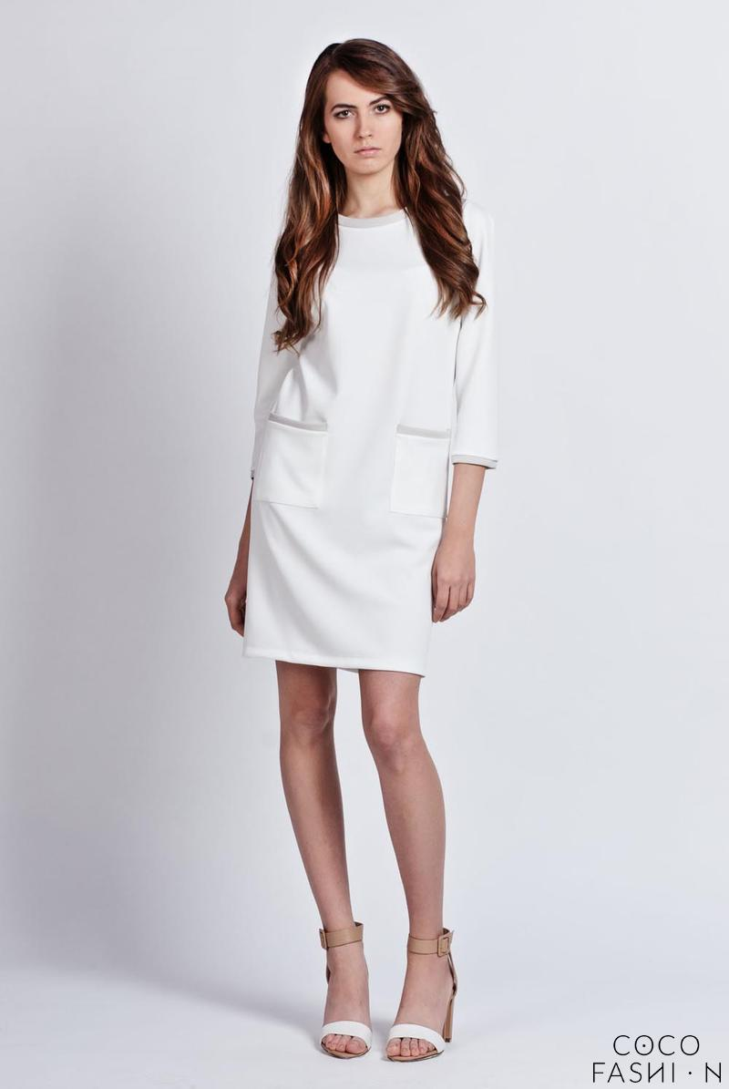 White Simple Style Office Dress with Piping