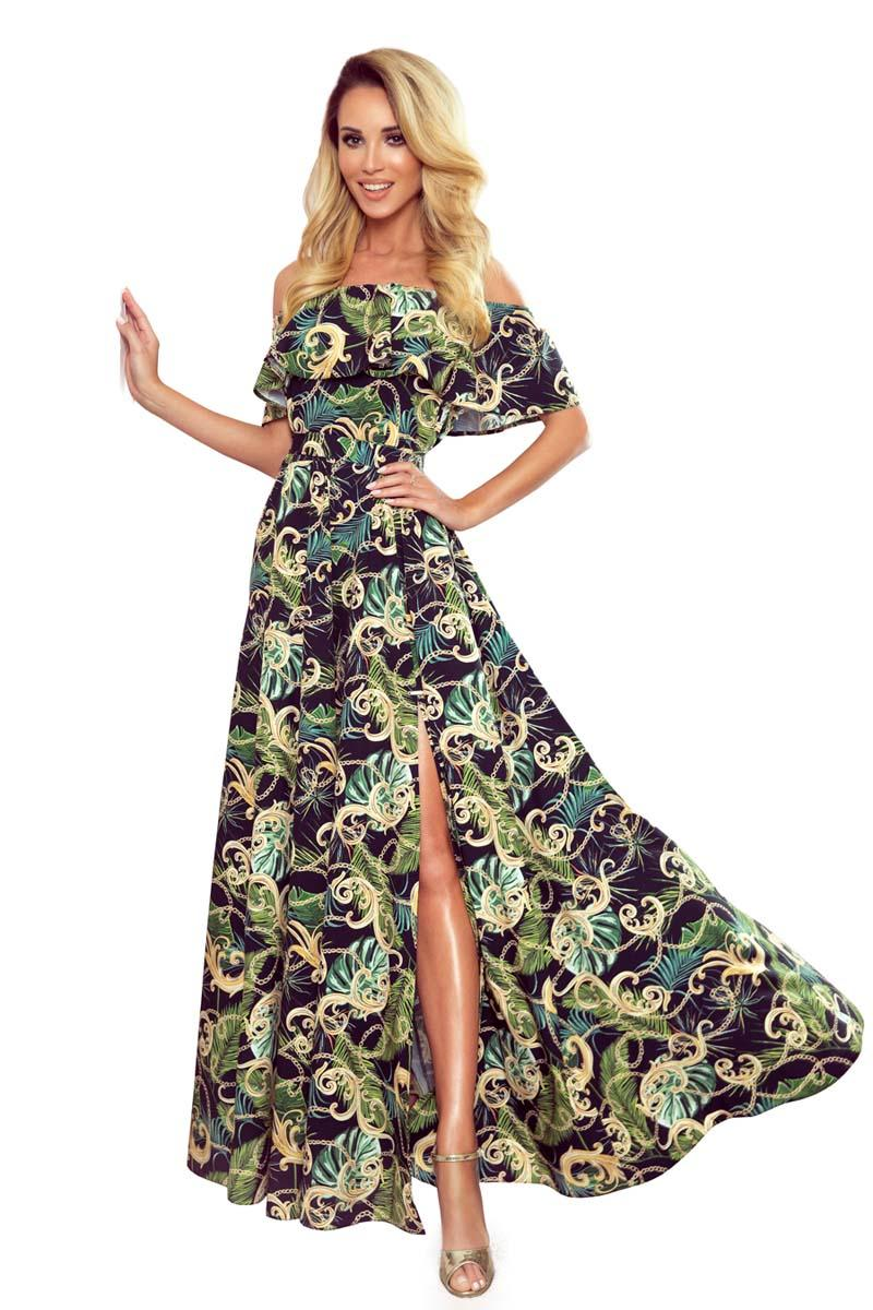 Maxi Dress with Spanish Neckline in Green Leaves