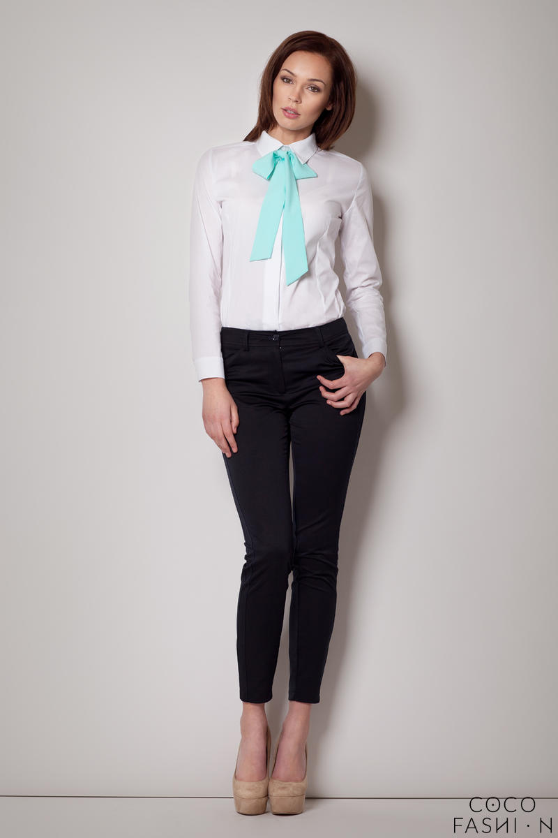 Contrast Pussy Green Bow Seam White Blouse with Cuffed Long Sleeves